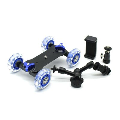 Foresight Tabletop Slider Dolly with Camera and Phone mount for Photography (1)