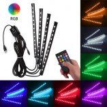 Foresight Car LED USB Strip Light - 4pcs 48 LED Multicolor - with Remote (2)